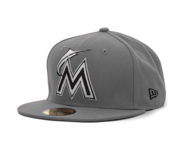 Miami Marlins New Era MLB Gray BW 59FIFTY Cap