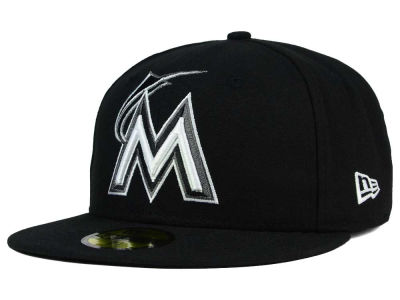 Miami Marlins New Era MLB Black and White Fashion 59FIFTY Cap