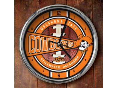 Oklahoma State Cowboys Chrome Clock