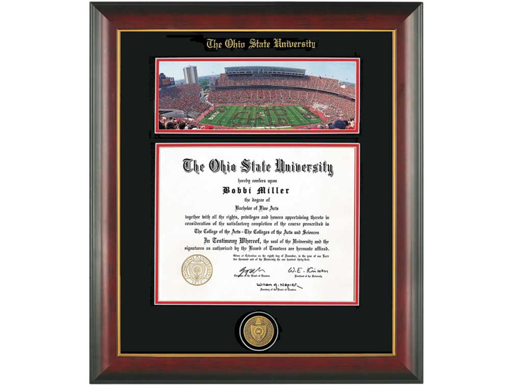 Ohio State Buckeyes Diploma Frame Mahogany With Gold Lip Photo ...