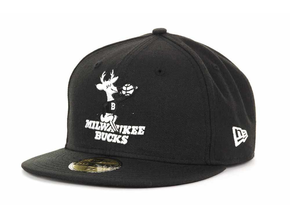 ... new style milwaukee bucks new era nba hardwood classics black white  59fifty cap abefa 5e947 ddb33f05f3d2