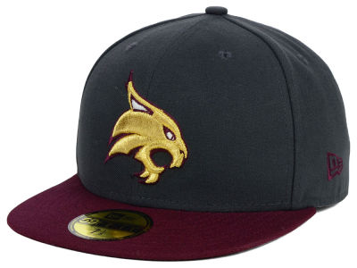 Texas State Bobcats New Era NCAA 2 Tone Graphite and Team Color 59FIFTY Cap