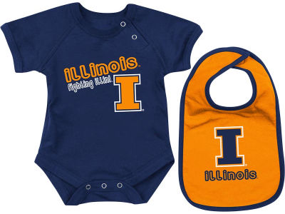 Illinois Fighting Illini NCAA Newborn Dribble Creeper Bib Set