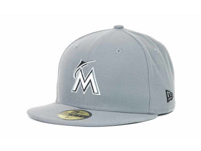 Miami Marlins New Era MLB Youth Gray Black and White 59FIFTY