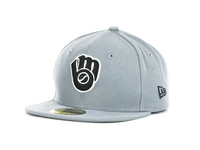 Milwaukee Brewers New Era MLB Youth Gray Black and White 59FIFTY