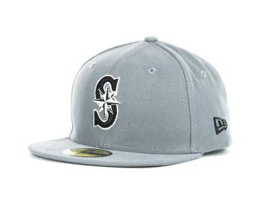 Seattle Mariners New Era MLB Youth Gray Black and White 59FIFTY
