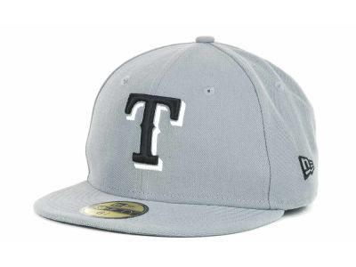 Texas Rangers New Era MLB Youth Gray Black and White 59FIFTY