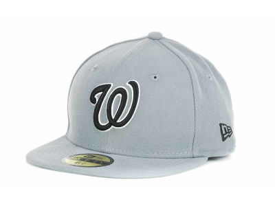 Washington Nationals New Era MLB Youth Gray Black and White 59FIFTY