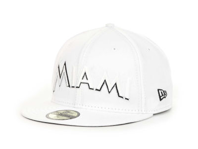 Miami Marlins New Era MLB White And Black 59FIFTY Cap
