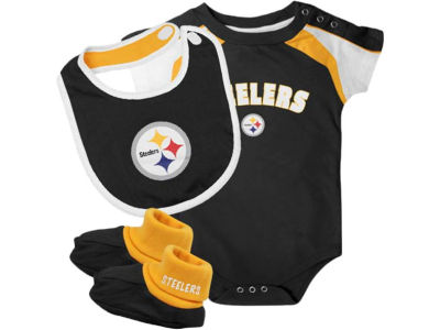 Pittsburgh Steelers NFL Newborn Creeper, Bib, Bootie Set