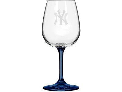 New York Yankees Satin Etch Wine Glass