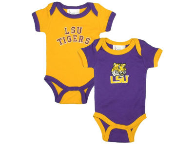 LSU Tigers NCAA Newborn 2 Pack Contrast Creeper