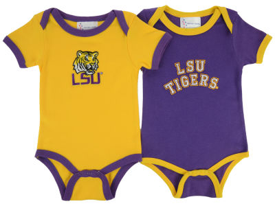 LSU Tigers NCAA Infant 2 Pack Contrast Creeper