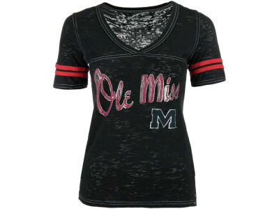 Ole Miss Rebels Blue 84 NCAA Womens Gemmary Foil Vneck T-Shirt