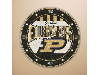 Purdue Boilermakers Art Glass Clock