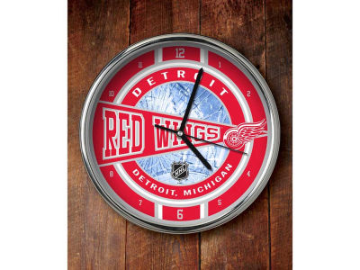 Detroit Red Wings Chrome Clock