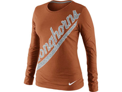 Texas Longhorns Nike NCAA Womens Angled Script Long Sleeve T-Shirt