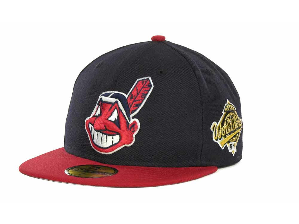 6bcdd630079 Cleveland Indians New Era MLB Retro World Series Patch 59FIFTY Cap ...