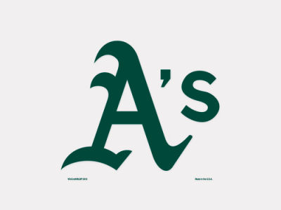 Oakland Athletics 4x4 Die Cut Decal Color