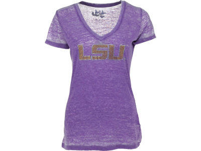 LSU Tigers GIII NCAA Womens Fade Route Crystal Vneck T-Shirt