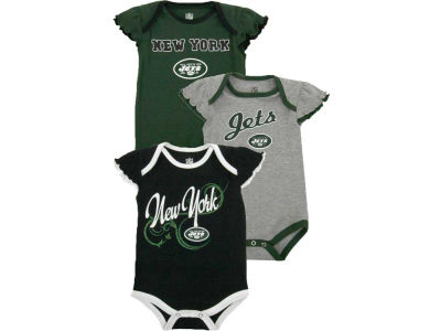 New York Jets NFL Infant Girls 3pc Foldover Neck Creeper Set 2013
