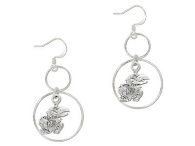 Kansas Jayhawks Silver Hoop Earrings