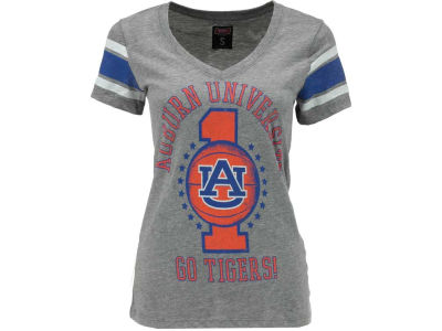 Auburn Tigers NCAA Womens Basketball Vneck Stripe T-Shirt
