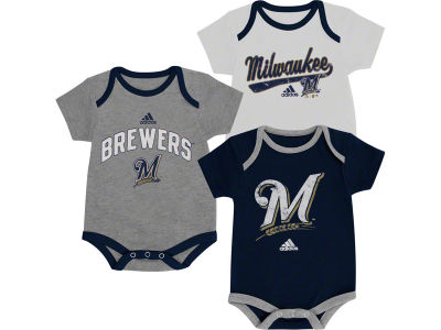 Milwaukee Brewers MLB Newborn 3 Piece Bodysuit Set