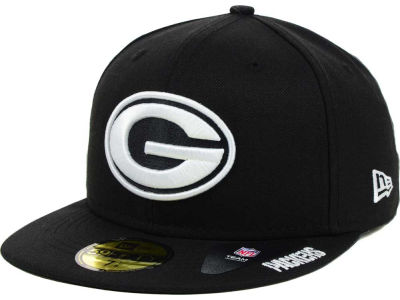 Green Bay Packers New Era NFL Black And White 59FIFTY Cap