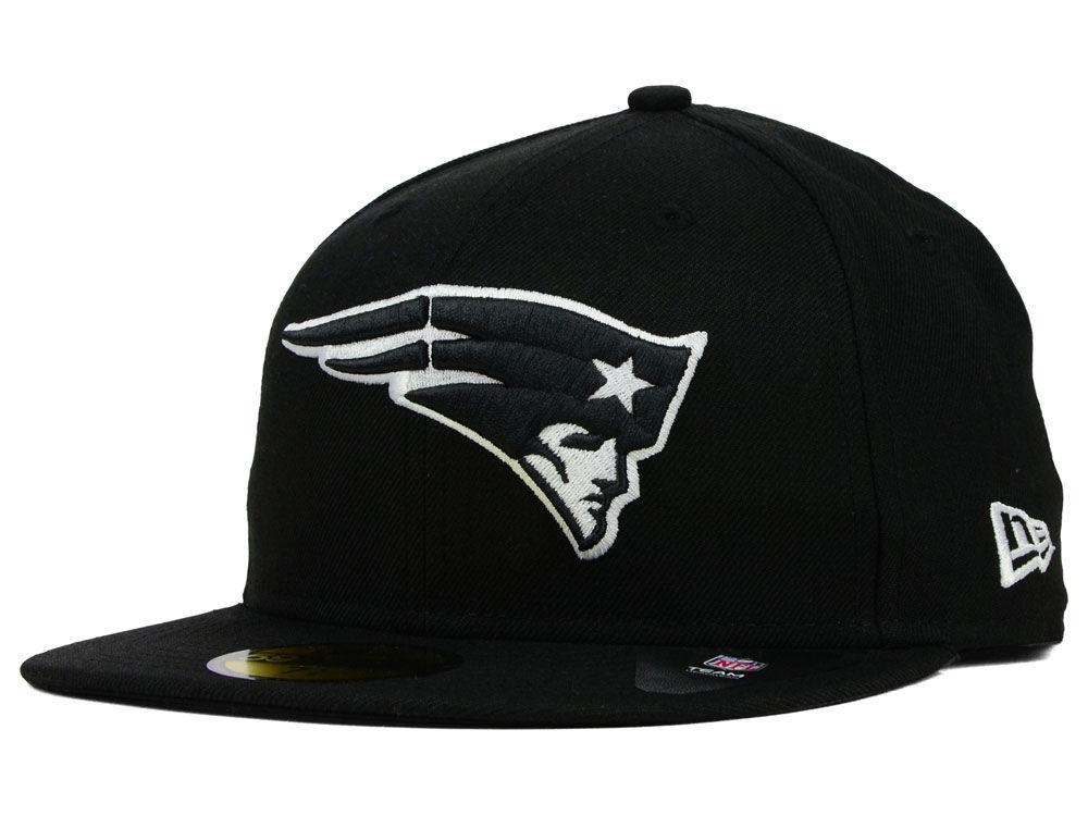 New England Patriots New Era NFL Black And White 59FIFTY Cap  de6d9fbde0d