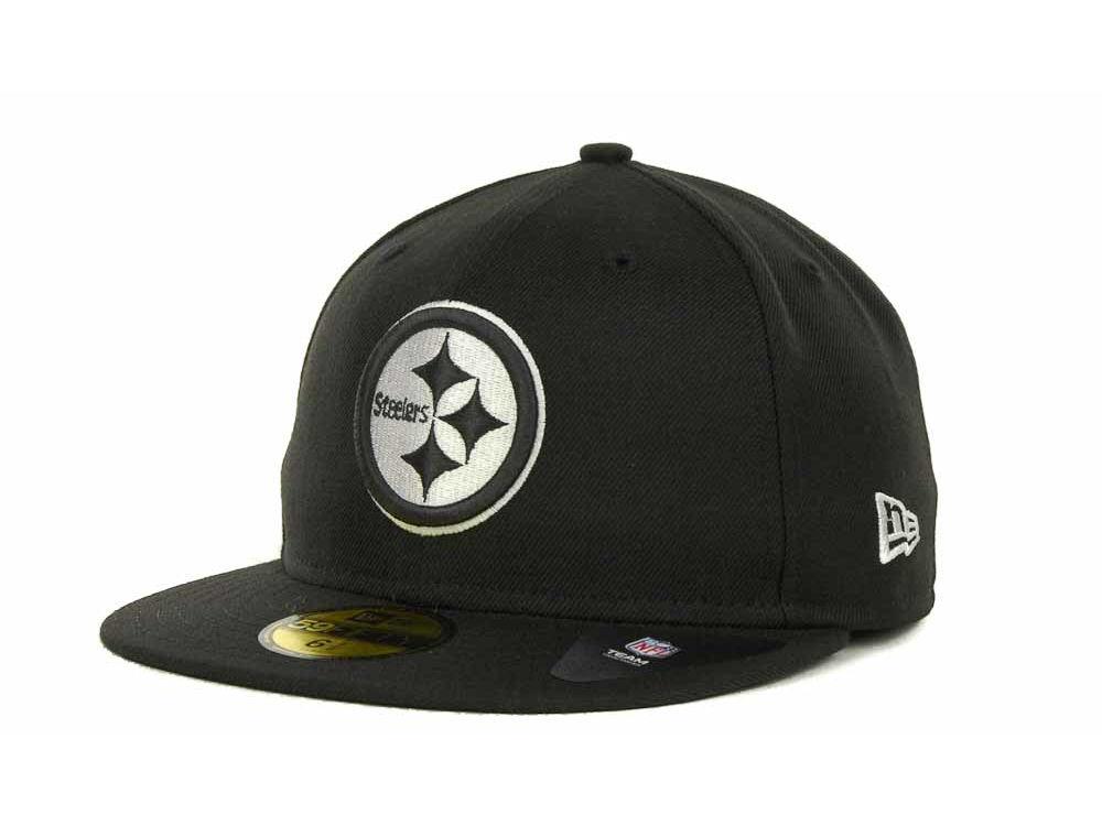 Pittsburgh Steelers New Era NFL Black And White 59FIFTY Cap  86f916896f2f