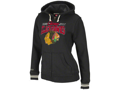 Chicago Blackhawks NHL Mitchell & Ness Stadium Full Zip Hooded Sweatshirt