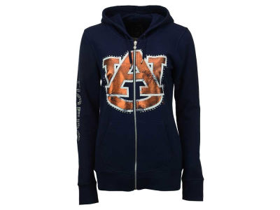 Auburn Tigers NCAA Womens Courtney Rhinestone Logo Full Zip Hoody