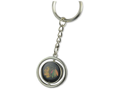 Chicago Blackhawks Rubber Puck Spinning Key Ring