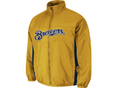 Milwaukee Brewers Majestic MLB Youth Double Climate On-Field Jacket