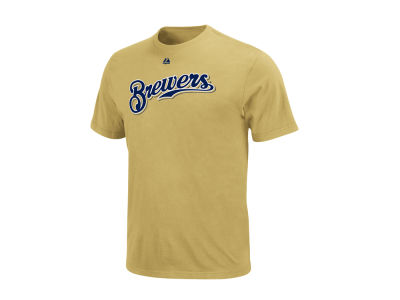 Milwaukee Brewers Majestic MLB Men's Official Wordmark T-Shirt