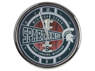 Michigan State Spartans Chrome Clock
