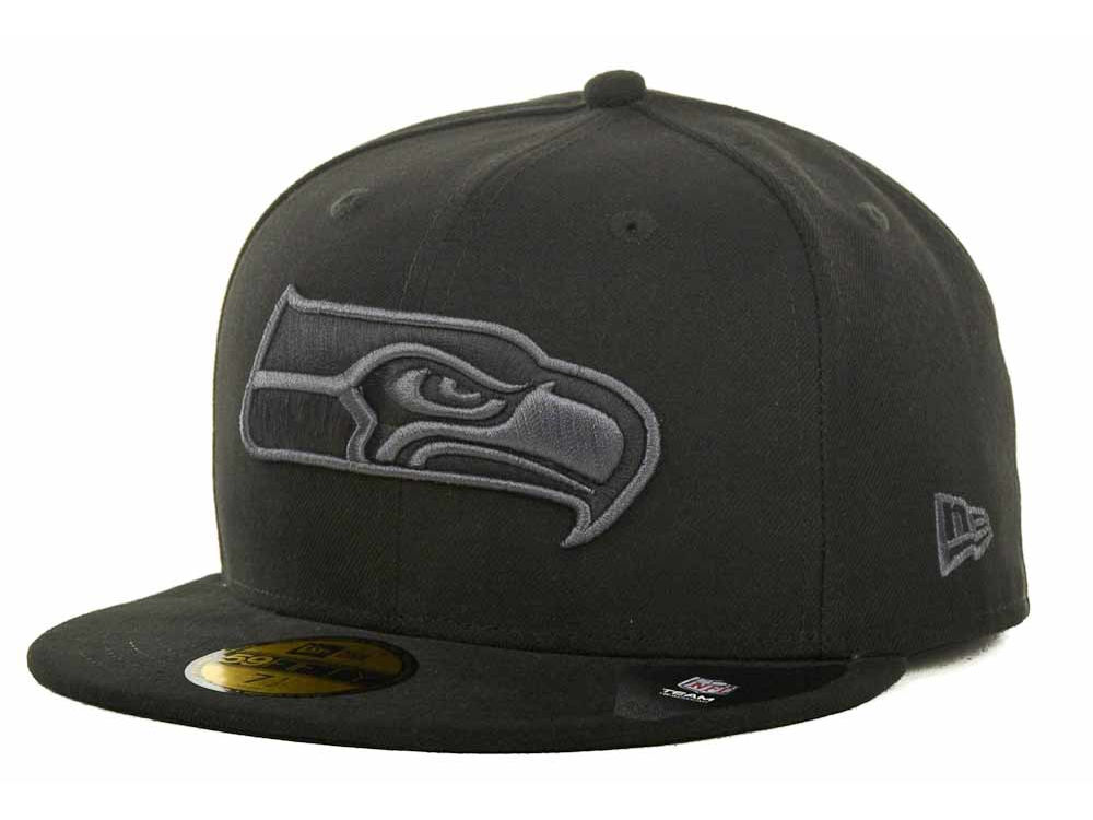 3c29631c3ae Seattle Seahawks New Era NFL Black Gray Basic 59FIFTY Cap