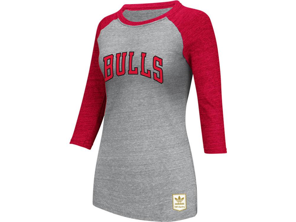 Chicago Bulls adidas NBA Womens Wordmark 3 4 Raglan T-Shirt  cc4bd89b8b