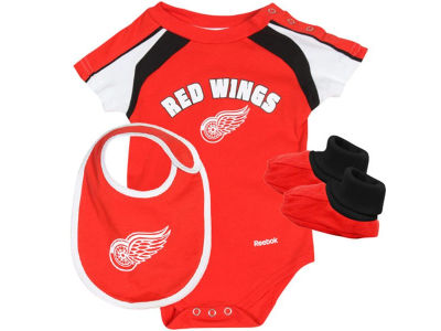 Detroit Red Wings NHL Infant Creeper Bib and Bootie Set