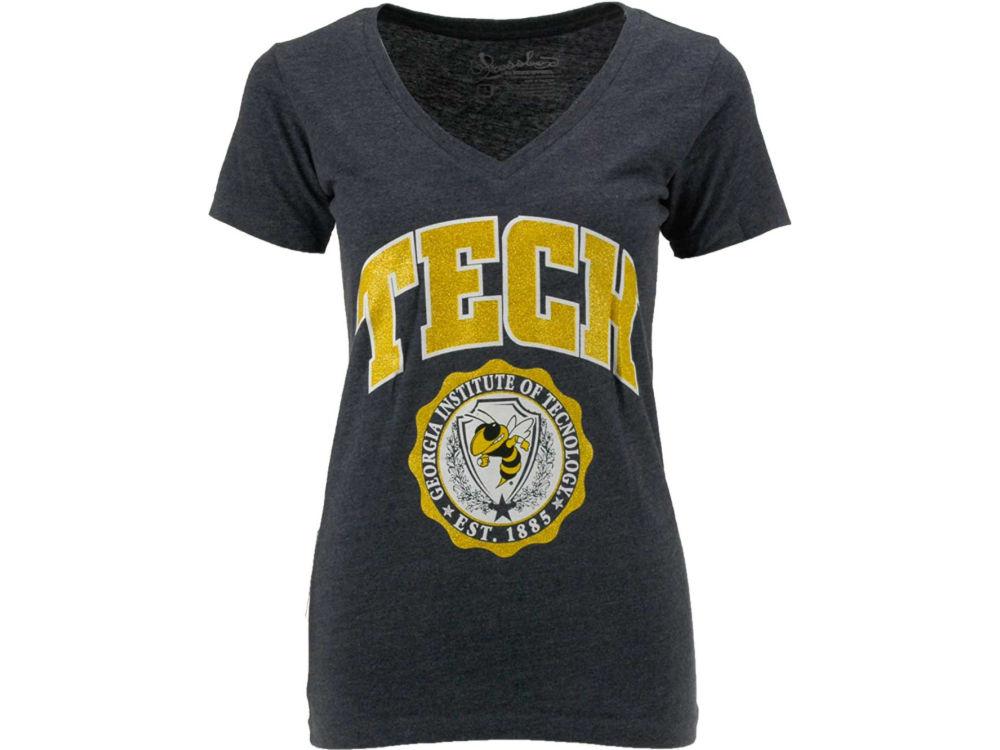 Georgia Tech Pressbox NCAA Womens Maude Vneck T-Shirt  3d764d1cf