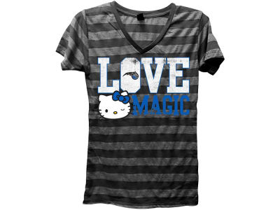 Orlando Magic NBA Womens Dancing Hearts HK Striped Vneck T-Shirt