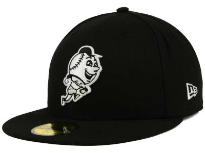 New York Mets New Era MLB Black and White Fashion 59FIFTY Cap