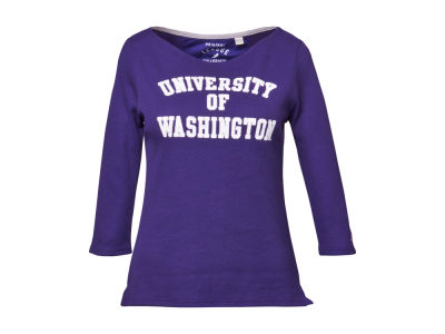 Washington Huskies NCAA Womens Boatneck Waffle Top