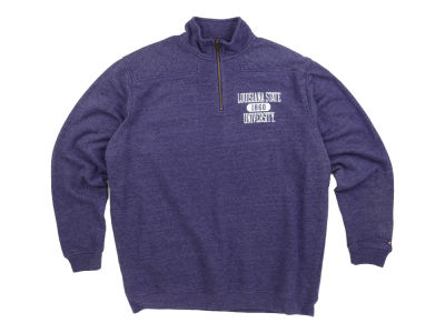 LSU Tigers NCAA League Tri-Blend Quarter Zip Pullover