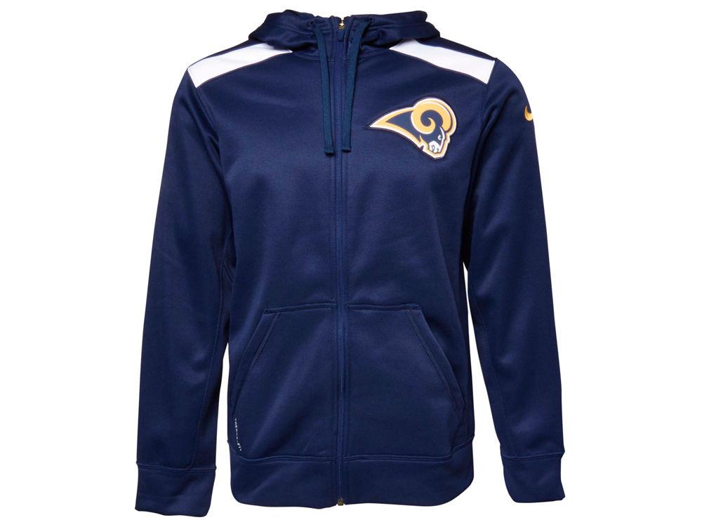 online store 30db5 0e37c Los Angeles Rams Nike NFL Men's Shield Nailhead Full Zip Hoodie
