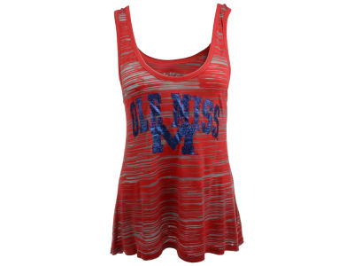 Ole Miss Rebels Blue 84 NCAA Womens Quiver Burnout Stripe Tank