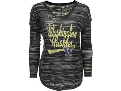Washington Huskies Blue 84 NCAA Womens Trouble Burnout Stripe Long Sleeve Top