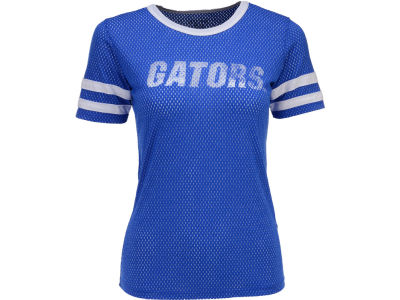 Florida Gators Blue 84 NCAA Womes Meshey Stripe Sleeve T-Shirt