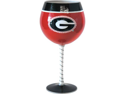 Georgia Bulldogs Art Glass Wine Glass